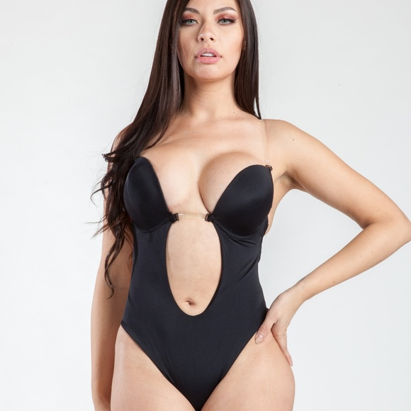 a40480526cefe MAGIC CURVES PLUNGE BACKLESS THONG BODYSUIT BLACK